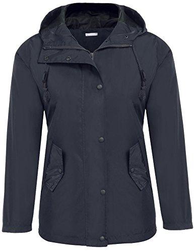 Beyove Women's Button Down Hooded Lightweigt Waterproof Rainwear Outdoor Jacket Navy Blue S
