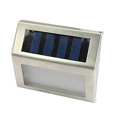 2 Pack LED Solar Light, 3 LED Solar Powered Wireless Stainless Steel Staircase Step White Light Stairways Path Landscape Garden Floor Wall Patio Lamp Modern Fixture TARGOPOP