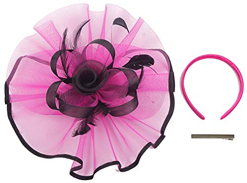Myjoyday Fascinator Hat Feather Mesh Net Veil Party Hat Flower Derby Hat with Clip and Hairband for Women (Rose and Black)