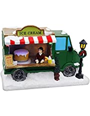 Christmas Village Tabletop Ice Cream Truck   Pre-lit Winter Snow Village   Perfect addition to your Christmas Indoor Home Decorations  Great Centerpiece For Your Collection