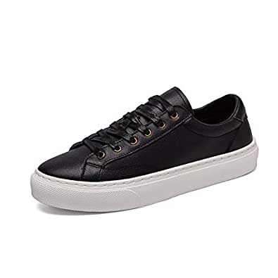 PANFU-AU Genuine Leather Lace Up Style Round Toe Breathable Simple and Pure Color Sports Shoes Athletic Shoes Men Fashion Casual Lightweight (Color : Black, Size : 6 UK)