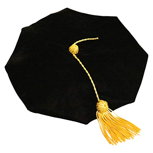 OSBO GradSeason Graduation Doctoral Tam 8-Sides Black Velvet with Gold Bullion Tassel