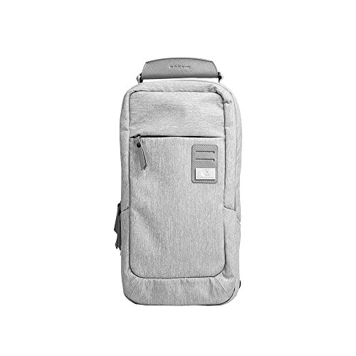 Dpark New Group Series Water-resistant Canvas& PU Sling Chest Shoulder Bag Pack Small Crossbody Backpacks Portable Sport Pack Travel Backpack for Men Women Child (Grey) (Sling Reversible)