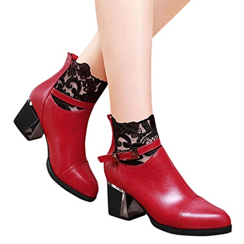 Fheaven Women Ladies Metal Buckle Zip Black Lace Ankle Boots Fashion Comfortable Shoes Chunky Block High Heel (6.5, -