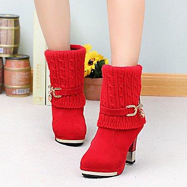 Wsx & Plm Femmes-bottines-formel / Décontracté-confortable-carré-daim-noir / Rouge, Rouge, Us8 / Eu39 / Uk6 / Cn39