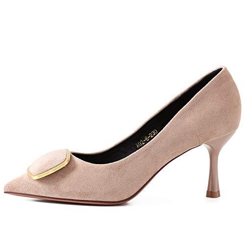 Yukun zapatos de tacón alto Zapatos De Tacón De Aguja De Diamantes De Imitación De Tacón Alto Negro Acentuados Zapatos De Tacón De Aguja De Satén Otoñal Bajo con Zapatos De Mujer, 34, Rojo Apricot