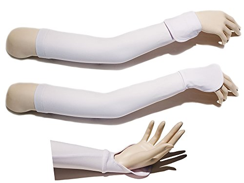 UPF 50+ Sun Protection Sun Sleeves (M/L White) Cycling Golf Walking & Driving by Sunbib