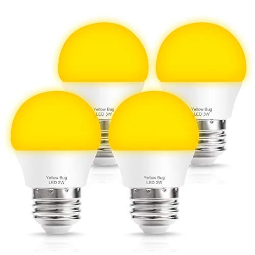 TechgoMade Amber Yellow LED Bug Light Bulbs, G45 Globe Bulb, 25W Bug free Lights Equivalent, 2000K Warm LED Night Lights E26 Edison Base(3W), Sleep Bedroom Night Lamp, Outdoor Porch Lights, 4 Pack