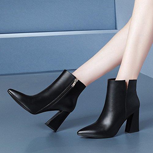 ZH Mujeres Invierno Ásperas Mujeres Los Caen Negro Tacones de Altos de Mujer con Y de Occidentales Señalan Las de Los Zapatos Las de Zapatos Botas nAnax6p7