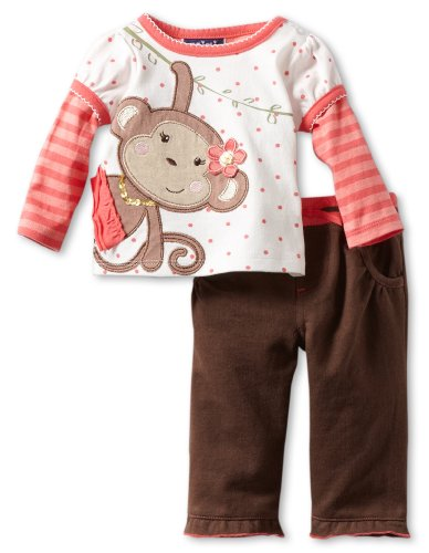 Price comparison product image Mini Bean Baby-girls Newborn 2 Piece Monkey Pant Set,  Pink Tuba,  6-9 Months