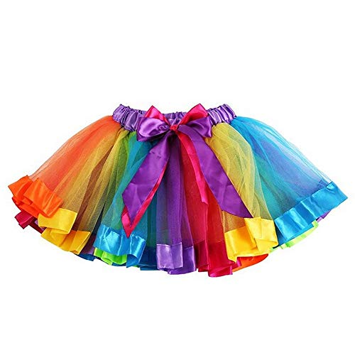TopTie Girls Layered Rainbow Tutu Skirt Dance Dress Ruffle Tiered Clubwear