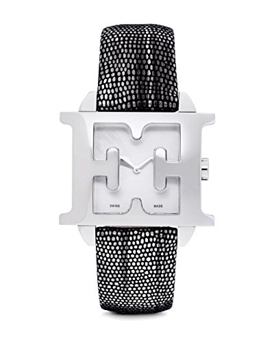 Escada E2006021 Silver Stainless Steel Case Mother of Pearl Dial Black Snakeskin Leather Strap Women's Watch - Escada Leather