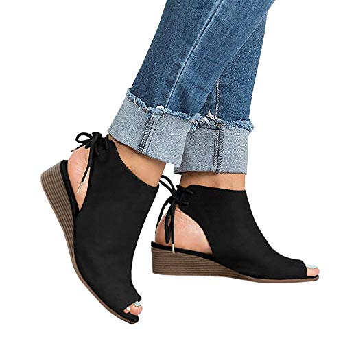 PiePieBuy Women's Cut Out Espadrille Platform Wedge Sandals Ankle Strap Peep Toe Suede Shoes (8 B(M) US - EU Size 39, Black-2)
