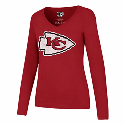 NFL Kansas City Chiefs Women's Ots Rival Long sleeve Distressed Tee, X-Large, Red