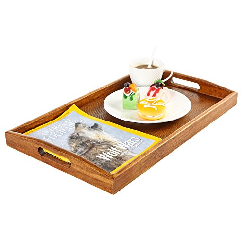 Maple Wood Rectangular Breakfast Butler Serving Tray with Cutout Handles, Brown - Maple Modern Coffee Table