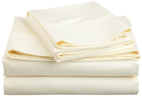 Cotton Rich 600 Thread Count Solid Sheet Set, King, Ivory