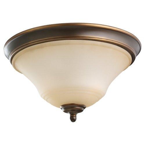 (Sea Gull Lighting 75381-829 2-Light Flush Mount Fixture, Ginger Glass and Russet Bronze)