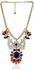 """Purple by M. Haskell Purple Multi-Colored Faceted Bead Statement Necklace, 15"""" + 4"""" extender"""