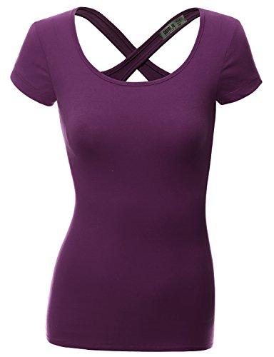 Doublju Women Stylish Solid Color Short Sleeve Plus Size Top PURPLE,XL