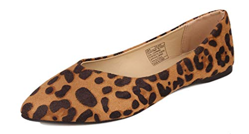GUGUYeah Women's Fashion Casual Pointed Toe Flats Shoes Leopard US Size 9.5