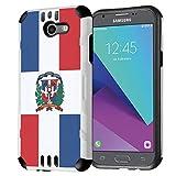 Capsule Case Compatible with Samsung Galaxy J7 Prime, J7 Perx, J7 Sky Pro, J7 V, Galaxy Halo, Galaxy J7 SM-J727 (Year 2017) [Dual Layer Silm Defender Case White] - (Dominican Republic Flag)