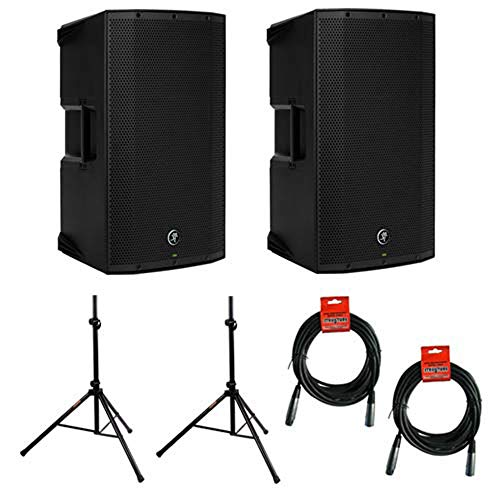 "Mackie Thump15A - 1300W 15"" Powered Loudspeaker (Pair) with (2) Steel Speaker Stand and (2) XLR-XLR Cable"