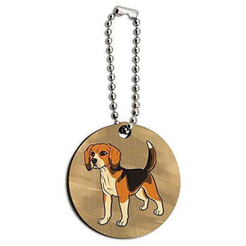 Beagle Pet Dog Wood Wooden Round Key Chain ()