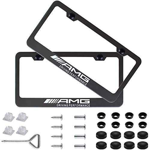 Fubai Auto Parts 2pcs AMG Stainless Steel License for Mercedes-Benz Plate Frame with Screw Caps Cover Set, Matte Black ()