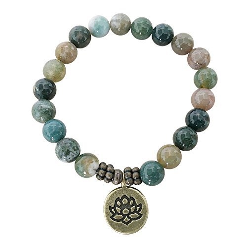 - BellaMira Artisan Crafted Rose Quartz Jasper Agate Handmade Bracelet ~ OM Lotus Buddha ~ Ethically Sourced Jewellery Presented in Retail Gift Box (Green Gemstone-Lotus)