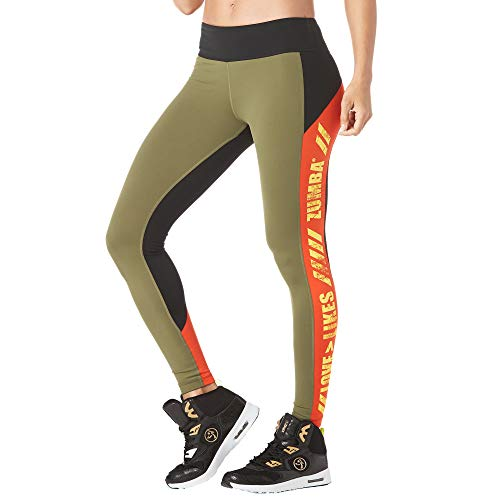 Zumba Women's Standard Fitness Breiter Bund Fitnesshose Workout Print Kompression Sporthose Damen, Army Green, XXL