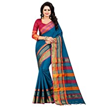 Shonaya Indian Women`S Party Wear Cotton Silk Saree with Unstitched Blouse Piece