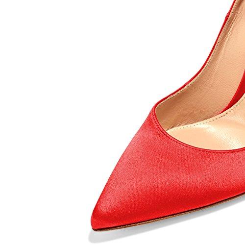 fashion Style for sale visit new sale online FSJ Women Elegant Pointed Toe Pumps High Heel Stilettos Slip On Formal Dress Shoes Size 4-15 US Red Satin 100% original cheap online marketable cheap price outlet hot sale pYbUKJ