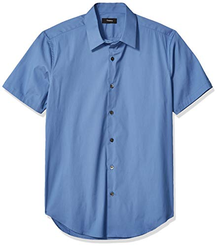 Theory Cotton Shirt - Theory Men's Sylvain Short Sleeve Wealth Cotton Sportshirt, Blue dust, L