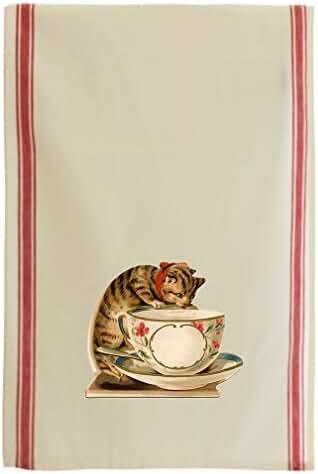 Cat Teacup Vintage Look Cotton Retro Stripe Dish Kitchen Towel Red Stripe