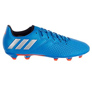 adidas Performance Kids' Messi 16.3 Firm Ground Soccer Cleats, Shock Blue/Matte Silver/Black, 4.5 M US Big Kid