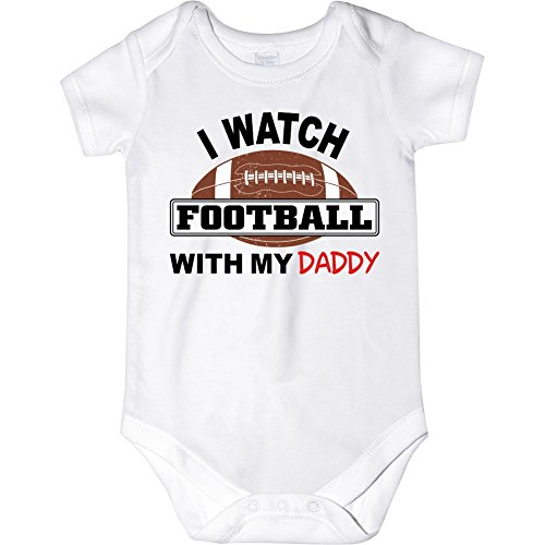Carefreetees I Watch Football With My Daddy (Baby Boys Bodysuit 6M Black/Red Text)