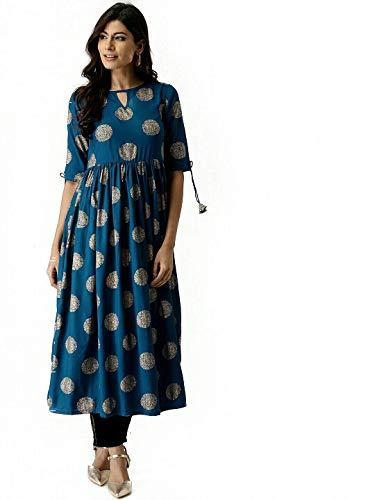 AnjuShree Choice Women Stitched Gold Printed Dark Sky Blue Cotton Anarkali kurti Kurta