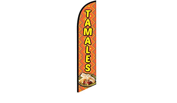 Tamales Red Yellow Windless Banner Advertising Marketing Flag