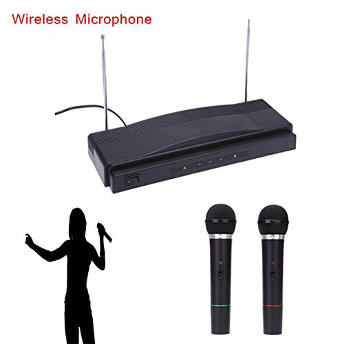 Rosbane(TM) Professional Wireless Mic Microphone Remote System Kit with FM Transmitter Receiver Audio Cable for KTV Teaching Show