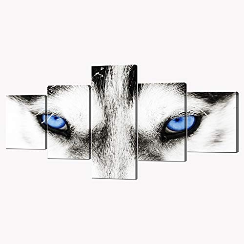 Husky Dog Art - 5 Panels Modern Husky Art Black and White Dog With Blue Eyes Picture Prints on Canvas Giclee Artwork Animal Face Prints and Posters Stretched by Wooden Frame for Home Decor - 50''W x 24''H