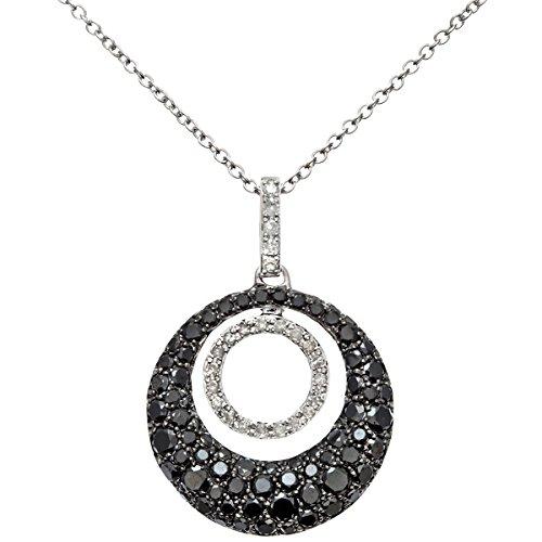 Revoni Bague en or blanc-18carats Diamant 1.00carat-Noir et blanc garni rond Boucle Pendentif avec chaîne 40cm
