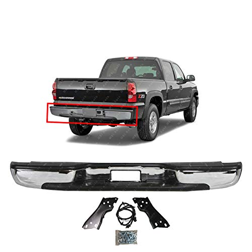 MBI AUTO - New Chrome Steel Rear Bumper for 1999-2006 Chevrolet Chevy Silverado GMC Sierra 1500 Pickup Truck