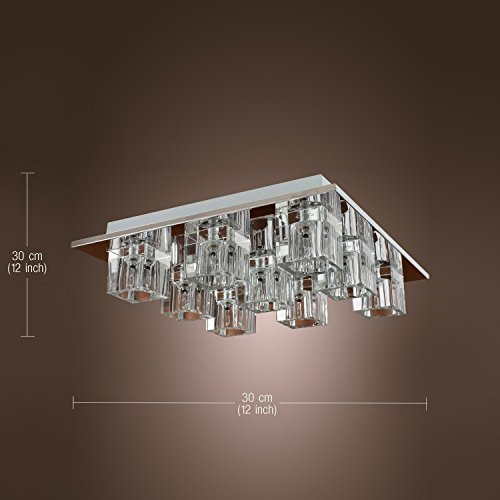 Lightess Chandelier Lighting LED Crystal Ceiling Light Fixtures Modern Flush Mount with 9 Lights in Square Shape by LIGHTESS (Image #3)