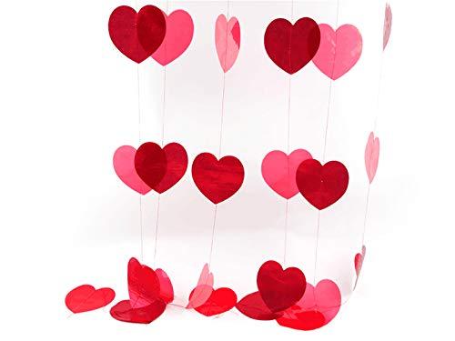 Valentine's Day Heart Banner Garland, PREASSEMBLED, 7 Strands,