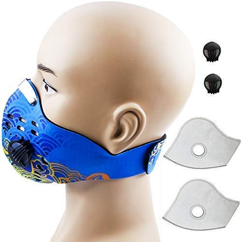 Activated Carbon Dustproof Dust Mask Filtration Exhaust Gas PM2.5 with 2 Valves 2 N99 Activated Carbon Filters for Running Cycling Outdoor Activities (Blue Cloud)
