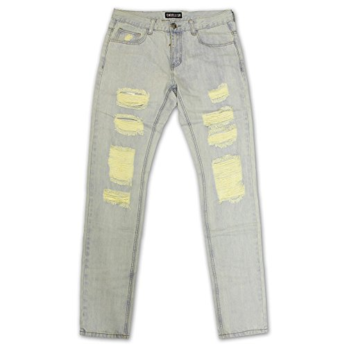 Embellish NYC Aventador Ripped Standard Denim Jeans Light Blue by Embellish NYC