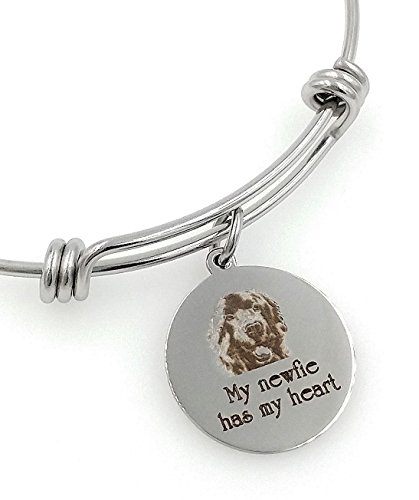 My Newfie, Newfoundland Has My Heart Engraved Expandable Bangle Bracelet