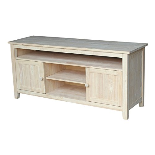 International Concepts TV Stand with 2 Doors, 1 Shelf and 2 (Unfinished Wood Tv Stand)