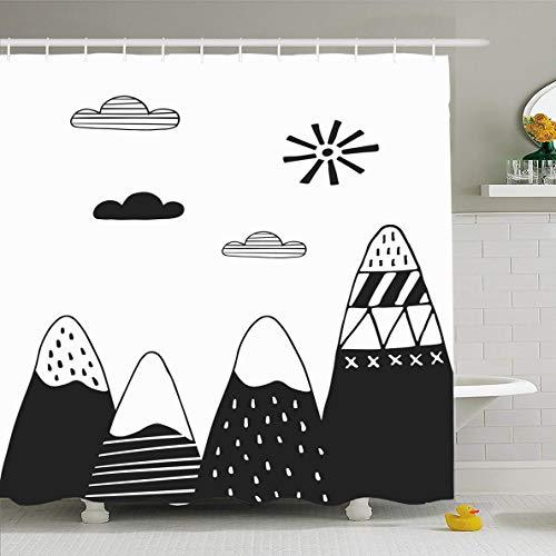 Ahawoso Shower Curtain 72 x 78 Inches Minimalistic Kids Cute Hand Drawn Nursery Mountains Scandinavian Black Tribal White Fun Design Folk Waterproof Polyester Fabric Bathroom Set with Hooks