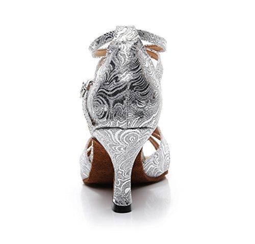 Salon Danse Heel 5cm Minitoo MinishionUS Silver de 7 QJ7148 Femme OIOwaqHE
